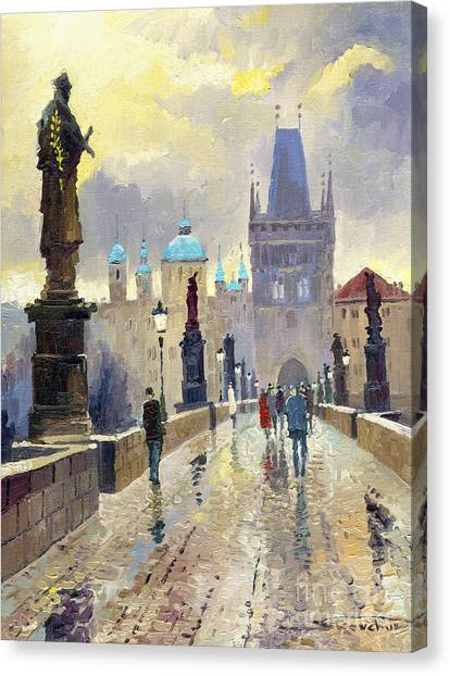 Oil On Canvas Print - Prague Charles Bridge 02 by Yuriy Shevchuk