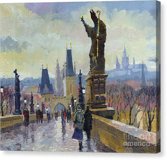 Oil On Canvas Print - Prague Charles Bridge 04 by Yuriy Shevchuk