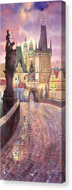 Europa Canvas Print - Prague Charles Bridge Night Light 1 by Yuriy Shevchuk
