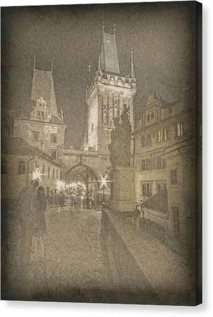 Prague Canvas Print - Prague Charles Bridge by Nikos Zarras