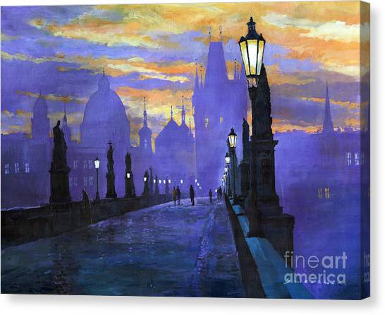 Sunrises Canvas Print - Prague Charles Bridge Sunrise by Yuriy Shevchuk