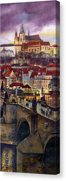 Oils Canvas Print - Prague Charles Bridge With The Prague Castle by Yuriy Shevchuk