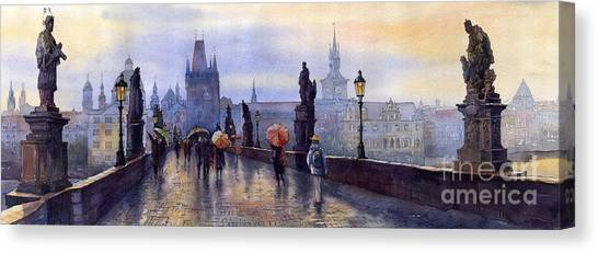 Rain Canvas Print - Prague Charles Bridge by Yuriy Shevchuk