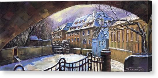 Pastel Canvas Print - Prague Chertovka Winter 01 by Yuriy Shevchuk