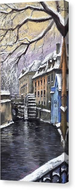 Pastel Canvas Print - Prague Chertovka Winter by Yuriy Shevchuk