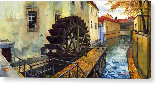 Realism Art Canvas Print - Prague Chertovka by Yuriy Shevchuk