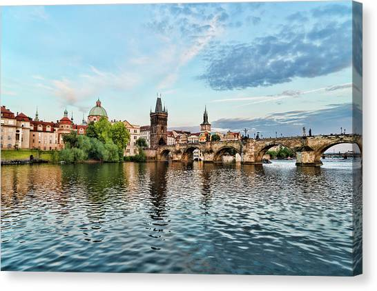 Prague From The River Canvas Print