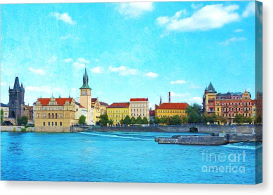 Romanesque Art Canvas Print - Prague From Vltava River by Laura D Young