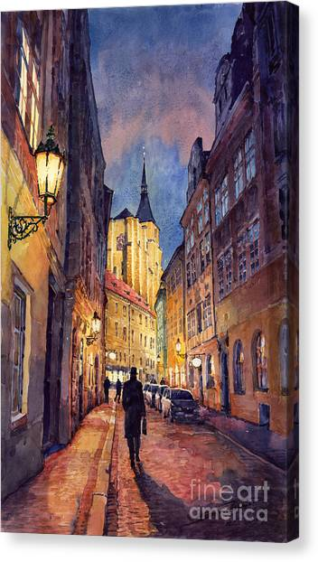 Night Lights Canvas Print - Prague Husova Street by Yuriy Shevchuk