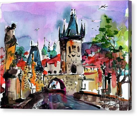 Prague Impressions Cobblestone Street Canvas Print