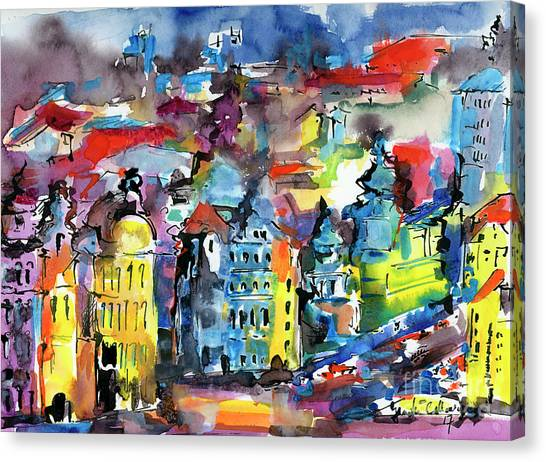 Prague Impressions Modern Watercolor And Ink Canvas Print