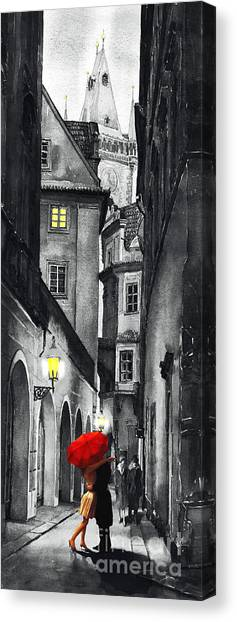 Mixed-media Canvas Print - Prague Love Story by Yuriy Shevchuk