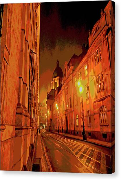 Prague Canvas Print - Prague, Near Charles Bridge,  Poster Effect 1 A by Zsuzsanna Szabo