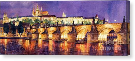 Night Lights Canvas Print - Prague Night Panorama Charles Bridge  by Yuriy Shevchuk