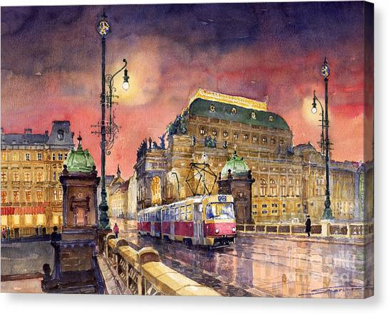 Night Lights Canvas Print - Prague  Night Tram National Theatre by Yuriy Shevchuk