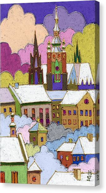 Castle Canvas Print - Prague Old Roofs Prague Castle Winter by Yuriy Shevchuk