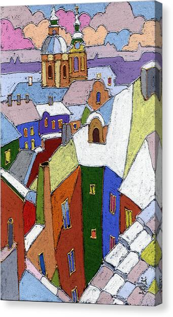 Pastel Canvas Print - Prague Old Roofs Winter by Yuriy Shevchuk