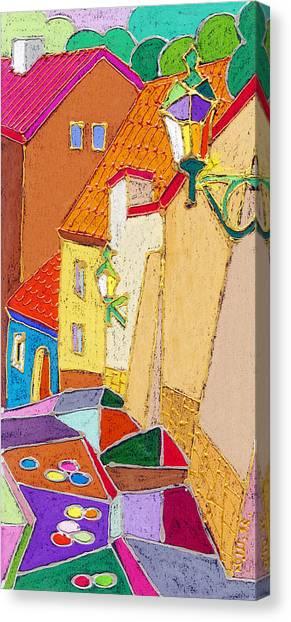 Pastel Canvas Print - Prague Old Street Ceminska Novy Svet by Yuriy Shevchuk