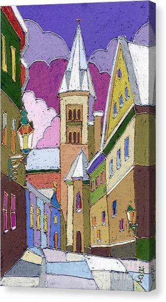 Street Canvas Print - Prague Old Street Jilska Winter by Yuriy Shevchuk