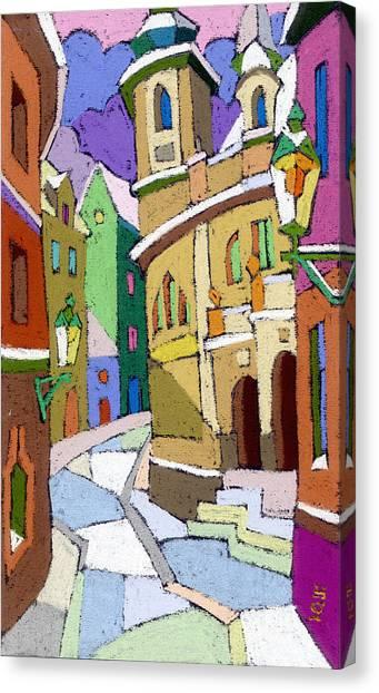Pastel Canvas Print - Prague Old Street Karlova Winter by Yuriy Shevchuk