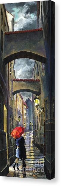Oil On Canvas Print - Prague Old Street Love Story by Yuriy Shevchuk