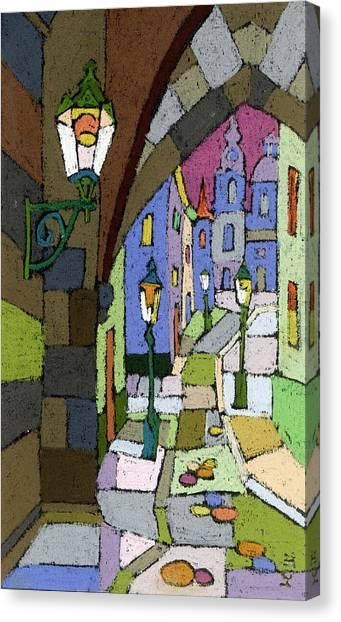 Pastel Canvas Print - Prague Old Street Mostecka by Yuriy Shevchuk