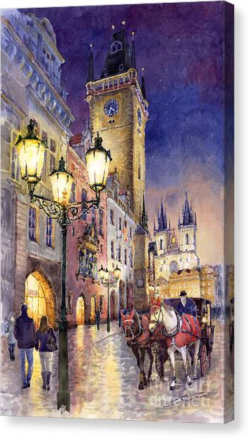 Night Lights Canvas Print - Prague Old Town Square 3 by Yuriy Shevchuk