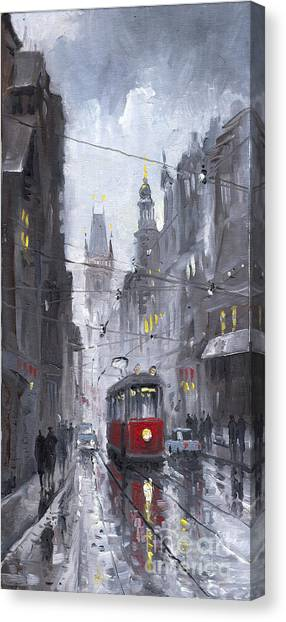 Rain Canvas Print - Prague Old Tram 03 by Yuriy Shevchuk