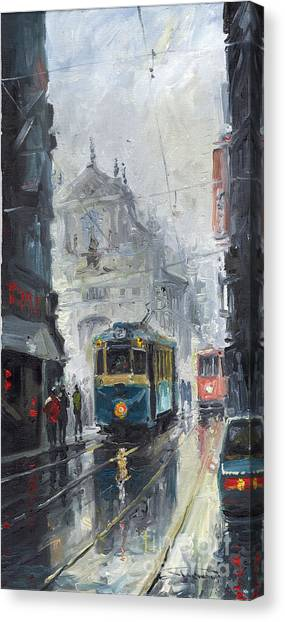 Oil On Canvas Print - Prague Old Tram 04 by Yuriy Shevchuk