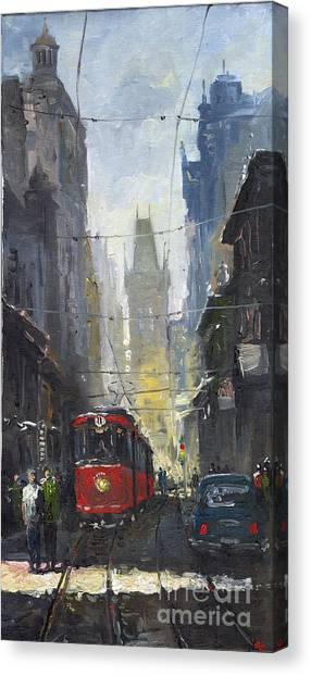 Oil On Canvas Print - Prague Old Tram 05 by Yuriy Shevchuk
