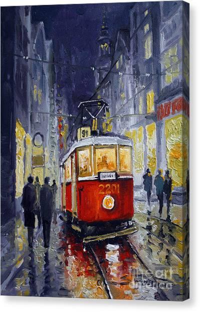 Oil Canvas Print - Prague Old Tram 06 by Yuriy Shevchuk