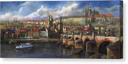 Pastel Canvas Print - Prague Panorama Charles Bridge Prague Castle by Yuriy Shevchuk