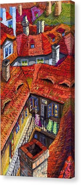 Pastel Canvas Print - Prague Roofs 01 by Yuriy Shevchuk