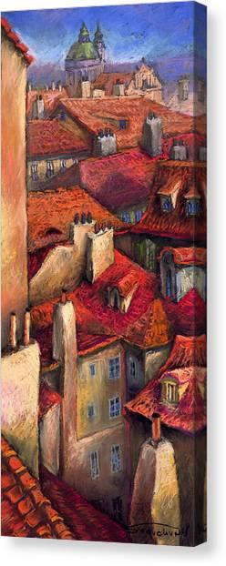 Pastel Canvas Print - Prague Roofs by Yuriy Shevchuk