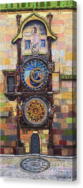 Pastel Canvas Print - Prague The Horologue At Oldtownhall by Yuriy Shevchuk