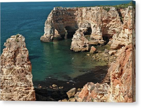 Praia Da Marinha Cliffs And Sea Canvas Print