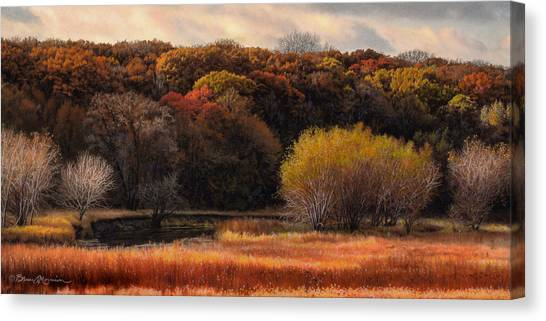 Prairie Autumn Stream Canvas Print