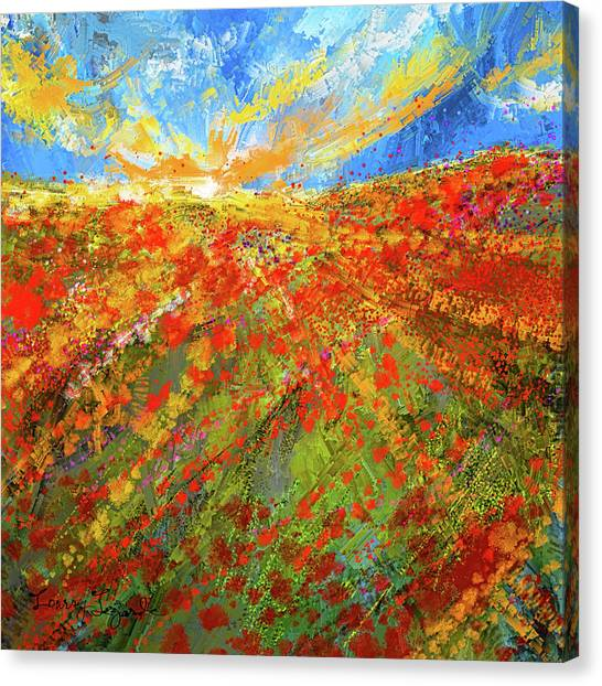 Prairie Sunrises Canvas Print - Prairie Sunrise - Poppies Art by Lourry Legarde