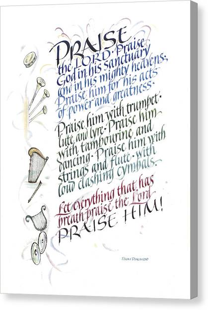Tambourines Canvas Print - Praise The Lord by Judy Dodds