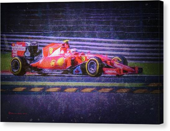 Finish Line Canvas Print - Prancing Horse Vettel by Marvin Spates