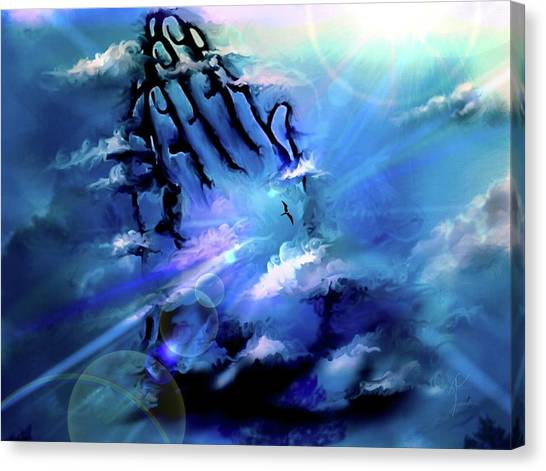 Canvas Print featuring the digital art Pray by Darren Cannell