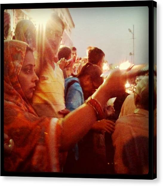 Ganges Canvas Print - Pray Ganges #india#rishkesh by Arare Chan