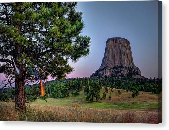 Prayer Flags At Devils Tower Canvas Print