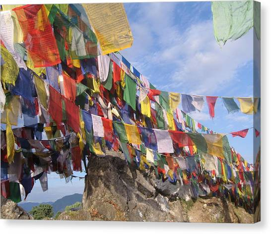 Prayer Flags In Happy Valley Canvas Print
