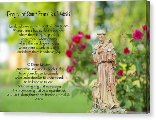 Prayer Of St. Francis Of Assisi Canvas Print