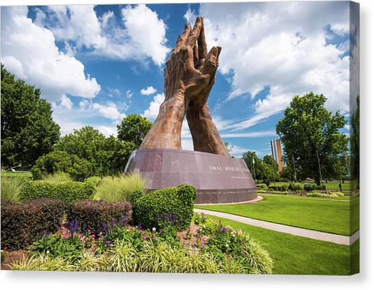 Oklahoma State University Canvas Print - Praying Hands - Christian Art - Oru In Tulsa Oklahoma by Gregory Ballos