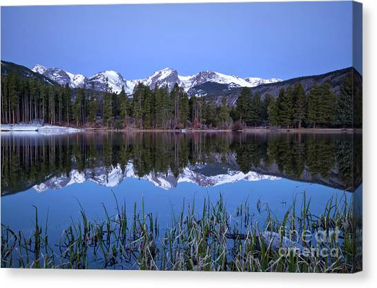 Pre Dawn Image Of The Continental Divide And A Sprague Lake Refl Canvas Print