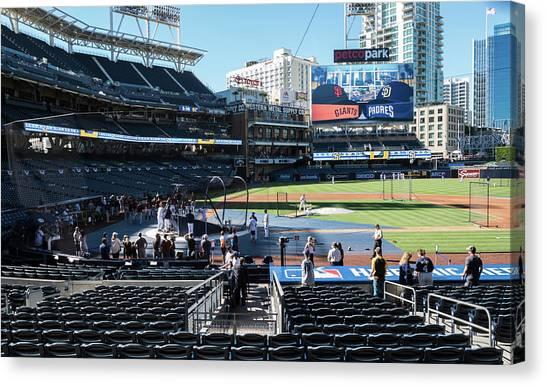 San Diego Padres Canvas Print - Pre-game Battling Practice by Robert VanDerWal