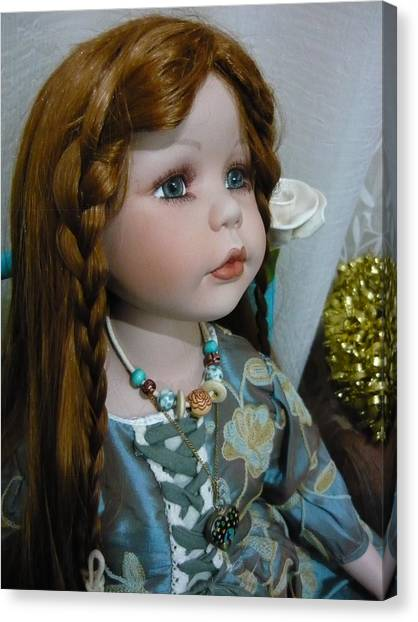 Pre Raphaelite Doll  Canvas Print by Adrianne Wood