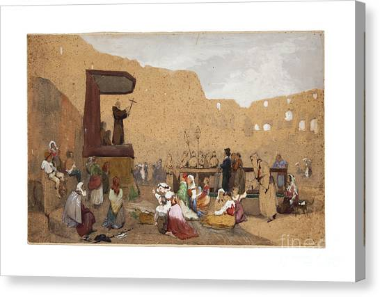 The Colosseum Canvas Print - Preaching In The Colosseum by Celestial Images